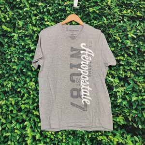 Aeropostale Grey V-Neck T-Shirt